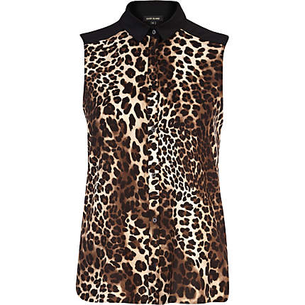 River Island Brown Animal Print Sleeveless Shirt - £25